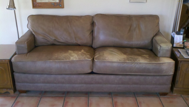 Brown Sofa Before Leather Repair And And Dye.